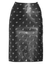 Alaïa Black Studded Leather Pencil Skirt