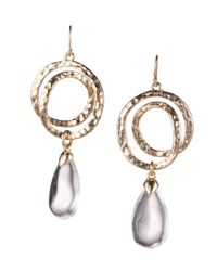 Alexis Bittar Metallic Coil & Clear Lucite Teardrop Drop Earrings