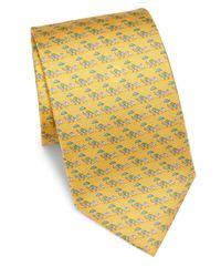 Ferragamo - Yellow Elephant Silk Tie for Men - Lyst