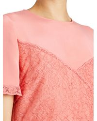 Burberry - Pink Silk Crepe Dress With Chantilly Lace - Lyst