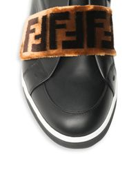 Fendi - Black Zucca Grip-tape Strap Sneakers for Men - Lyst