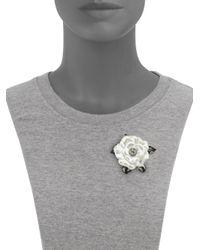Kenneth Jay Lane Metallic Faux-pearl Flower Pin