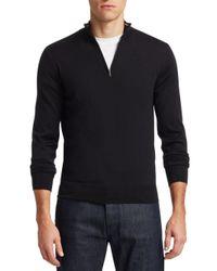 Saks Fifth Avenue Black Collection Collar Stripe Quarter Zip Sweater for men