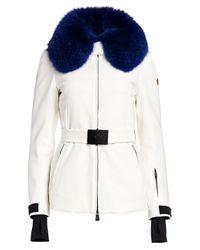 3 MONCLER GRENOBLE White Grenoble Moncler Ecrins Fox Fur-trimmed Belted Jacket