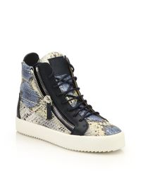 Giuseppe Zanotti - Multicolor Snake-embossed Leather High-top Zip Sneakers - Lyst
