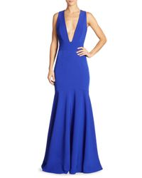 MILLY Blue Penelope Italian Cady Trumpet Gown
