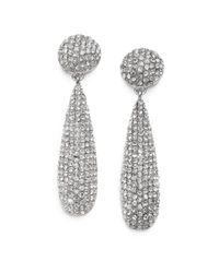 Kenneth Jay Lane - Metallic Pave Teadrop Earrings/silvertone - Lyst