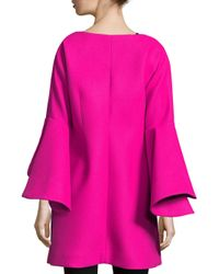 MILLY - Pink Melton Bonded Tie Bell-sleeve Coat - Lyst