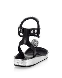 Isabel Marant - Metallic Embellished Crystal And Leather Ankle Strap Sandals - Lyst