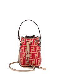 Fendi - Red Mon Tresor Mini Logo Bucket Bag - Lyst