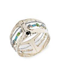 Alexis Bittar Metallic Hammered Metal & Multi-stone Hinge Bracelet