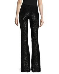 Michael Kors Black Animal-print Flare Pants
