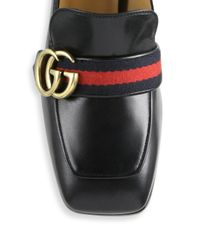 Gucci - Black Pearl Heel 80 Leather Pumps - Lyst