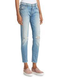 Mother Blue Stinger Flood Distressed Jeans