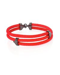 Stinghd - Red Blackened Silver & Stingray Triangle Wrap Bracelet for Men - Lyst
