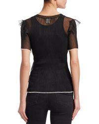 Noir Kei Ninomiya - Black Sheer Rib-knit Top - Lyst
