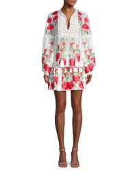 Alexis Red Beda Floral Skirt