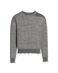 John Elliott Gray Structure Wool Knit Crew Sweater for men