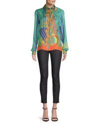 Versace Blue Long Sleeve Printed Silk Shirt