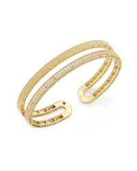 Roberto Coin - Metallic Double Symphony Diamond & 18k Yellow Gold Bangle - Lyst