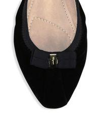 Ferragamo - Black My Joy Velvet Ballet Flats - Lyst