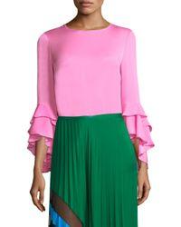 MILLY Pink Gabby Silk Ruffle Top