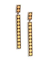 John Hardy - Metallic Dot 18k Yellow Gold & Sterling Silver Linear Drop Earrings - Lyst