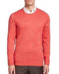 Saks Fifth Avenue - Pink Silk-blend Crewneck Sweater for Men - Lyst
