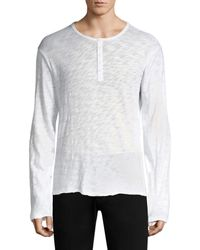 ATM White Distressed Henley Top for men