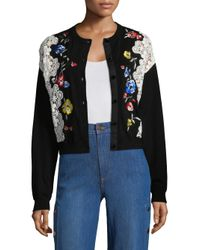Alice + Olivia Black Leena Embroidered Cardigan