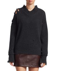 Helmut Lang Multicolor Ribbed Distress Wool Sweater