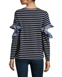 CLU - Blue Ruffled Open Sleeve Top - Lyst