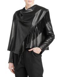 Isabel Marant Women's Fringed Leather Jacket - Black