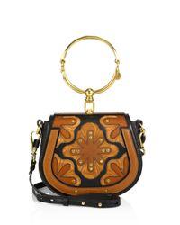 Chloé - Multicolor Small Nile Flower Leather Bracelet Saddle Bag - Lyst