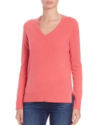 Saks Fifth Avenue - Pink Cashmere V-neck Sweater - Lyst
