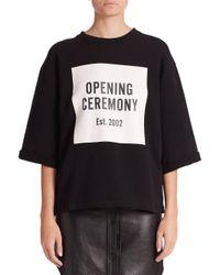 Opening Ceremony | Black Logo Cut-off Sweat Tee | Lyst