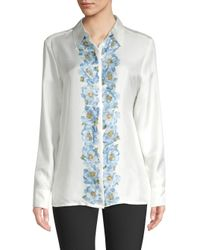 ESCADA - Natural Nestilaras Silk Floral Blouse - Lyst