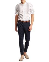 Brunello Cucinelli - White Mandarin Collar Striped Sport Shirt for Men - Lyst