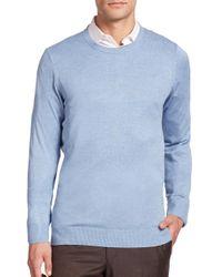 Saks Fifth Avenue - Blue Silk-blend Crewneck Sweater for Men - Lyst