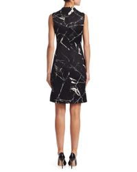 Akris - Black Sleeveless Mock-neck Marble Tiles Jacquard A-line Cocktail Dress - Lyst
