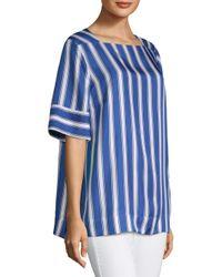 ESCADA - Blue Narnet Silk Cabana Stripe Blouse - Lyst