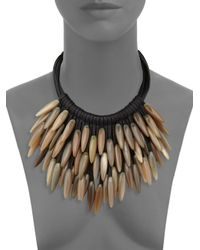 Nest - Black Fringed Leather & Horn Necklace - Lyst