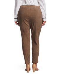 Lafayette 148 New York - Brown Portobello Suede Slim Pants - Lyst