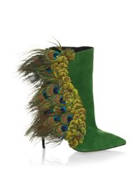 Paul Andrew - Green Limited-edition Pana Peacock Feather & Suede Booties - Lyst