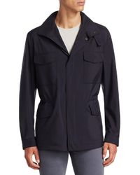 Loro Piana Blue Traveller Windmate Hooded Jacket for men
