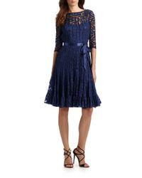 Teri Jon - Black Lace Pintuck Dress - Lyst