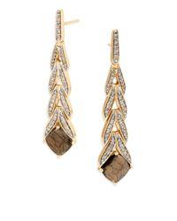 John Hardy - Metallic Chain Magic Cut Golden Sheen Sapphire, Diamond & 18k Yellow Gold Drop Earrings - Lyst