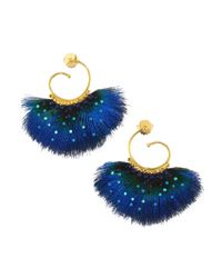 Gas Bijoux Blue 24k Goldplated & Embellished Feather Drop Earrings