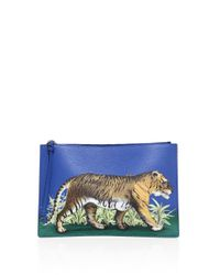 Gucci Blue Tiger-print Leather Pouch