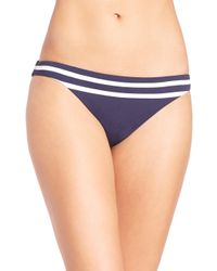 Shoshanna - Blue Striped Jersey Classic Bikini Bottom - Lyst